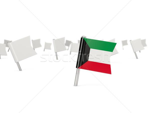 Piazza pin bandiera Kuwait isolato bianco Foto d'archivio © MikhailMishchenko