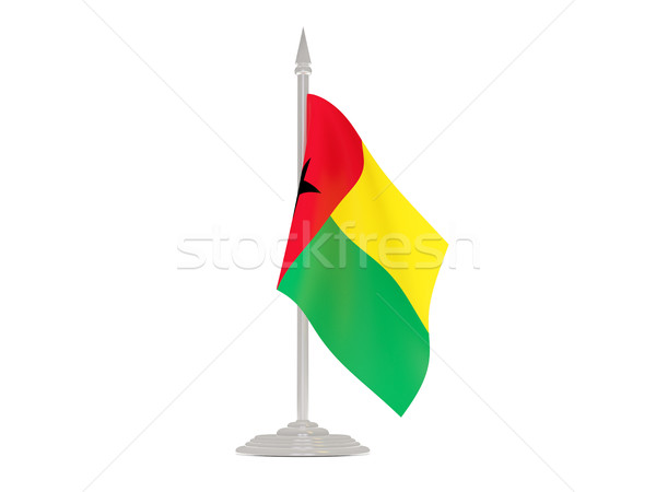Vlag Guinea vlaggestok 3d render geïsoleerd witte Stockfoto © MikhailMishchenko