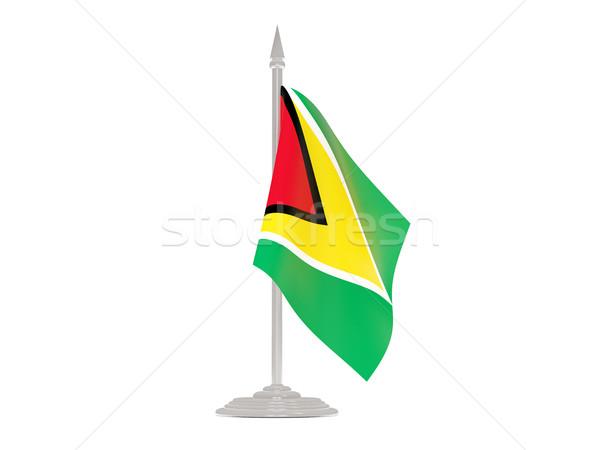 Zászló Guyana zászlórúd 3d render izolált fehér Stock fotó © MikhailMishchenko