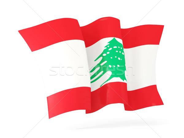 флаг Ливан 3d иллюстрации изолированный белый Сток-фото © MikhailMishchenko