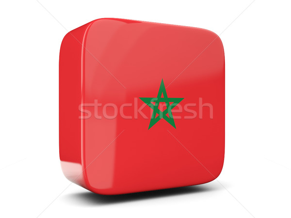 Square icon with flag of morocco square. 3D illustration Stock photo © MikhailMishchenko