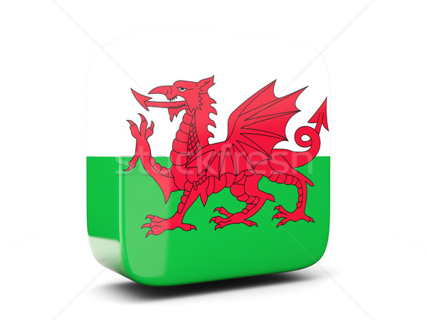Square icon with flag of wales square. 3D illustration Stock photo © MikhailMishchenko