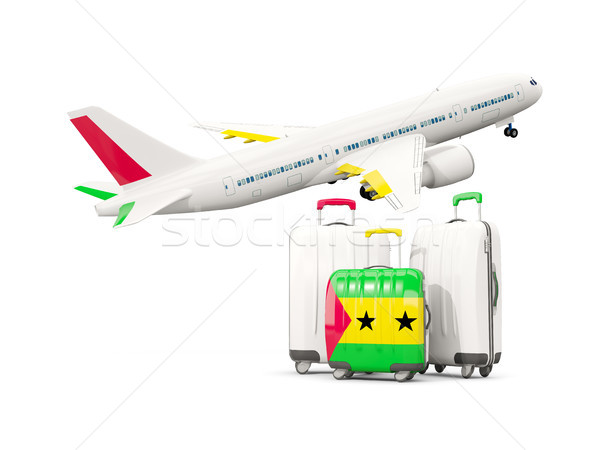 Luggage with flag of sao tome and principe. Three bags with airp Stock photo © MikhailMishchenko