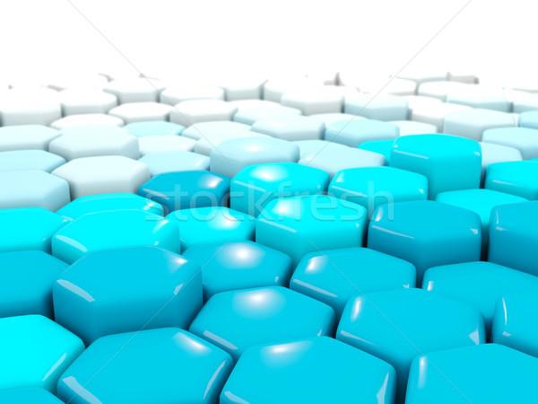 白 青 産業 六角形 パターン 3次元の図 ストックフォト © MikhailMishchenko