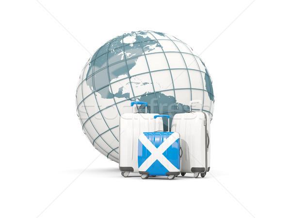 Bagage vlag Schotland drie zakken wereldbol Stockfoto © MikhailMishchenko