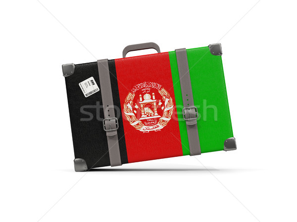 Luggage with flag of afghanistan. Suitcase isolated on white Stock photo © MikhailMishchenko