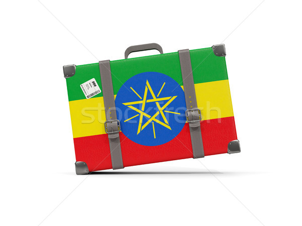 Luggage with flag of ethiopia. Suitcase isolated on white Stock photo © MikhailMishchenko