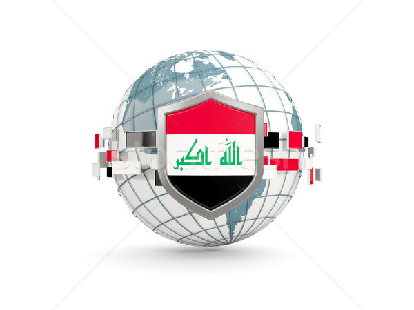 Globo escudo bandeira Iraque isolado branco Foto stock © MikhailMishchenko