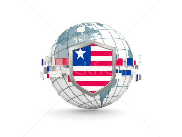 Globe and shield with flag of liberia isolated on white Stock photo © MikhailMishchenko