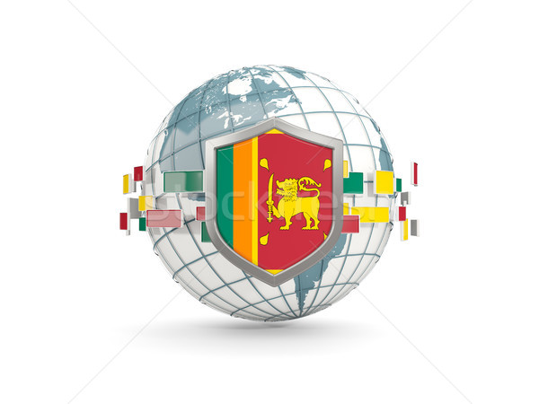 Globe and shield with flag of sri lanka isolated on white Stock photo © MikhailMishchenko