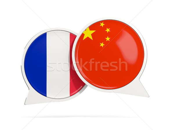 Chat bubbles of France and China isolated on white Stock photo © MikhailMishchenko