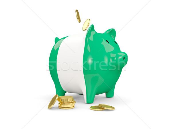 Zdjęcia stock: Tłuszczu · banku · piggy · Nigeria · ceny · odizolowany · biały