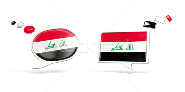 Two chat icons with flag of iraq Stock photo © MikhailMishchenko