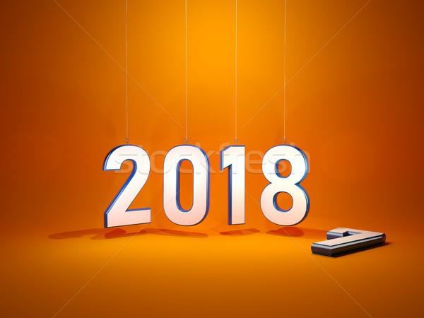 Neujahr Symbol orange 3D-Darstellung Kalender Zeit Stock foto © MikhailMishchenko