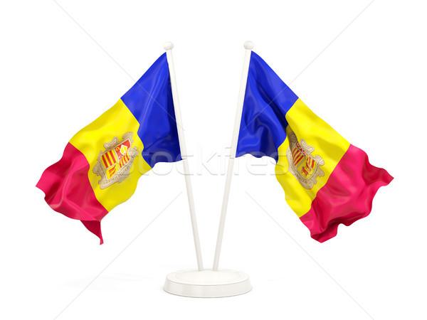 Two waving flags of andorra Stock photo © MikhailMishchenko