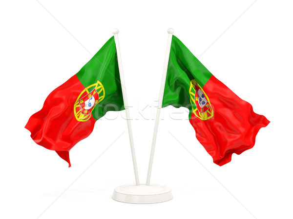 Two waving flags of portugal Stock photo © MikhailMishchenko