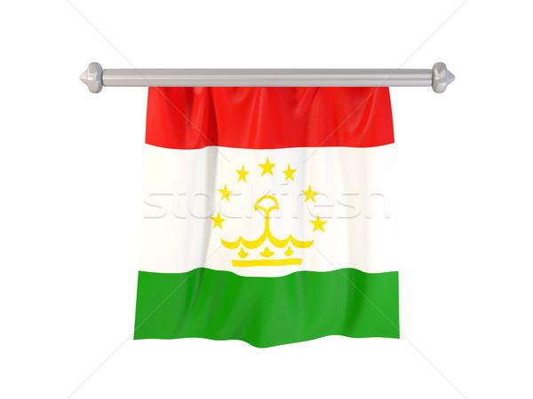 флаг Таджикистан изолированный белый 3d иллюстрации Label Сток-фото © MikhailMishchenko