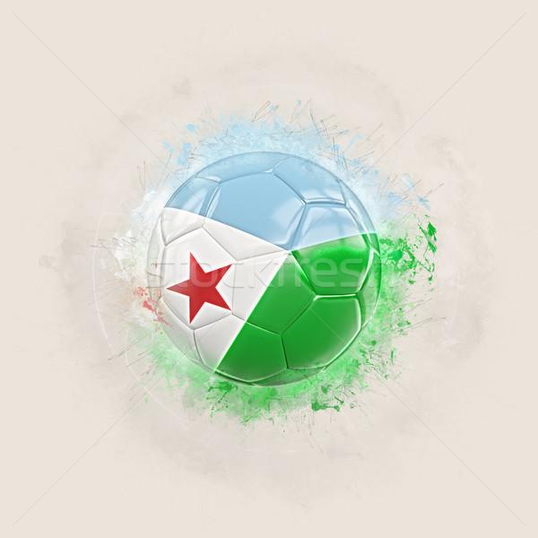 Grunge piłka nożna banderą Dżibuti 3d ilustracji świat Zdjęcia stock © MikhailMishchenko