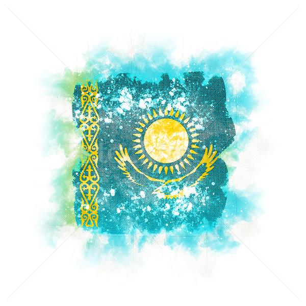 Praça grunge bandeira Cazaquistão ilustração 3d retro Foto stock © MikhailMishchenko