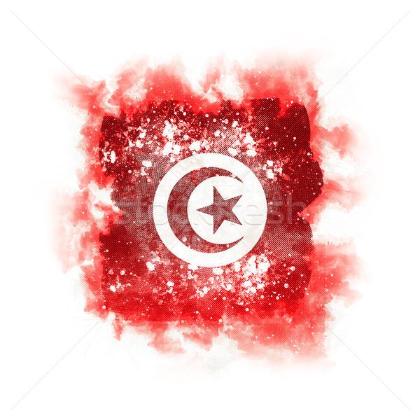 Praça grunge bandeira Tunísia ilustração 3d retro Foto stock © MikhailMishchenko
