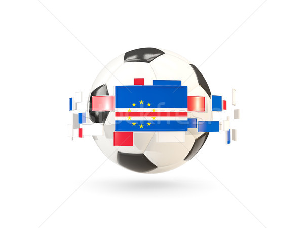 Soccer ball with line of flags. Flag of cape verde Stock photo © MikhailMishchenko