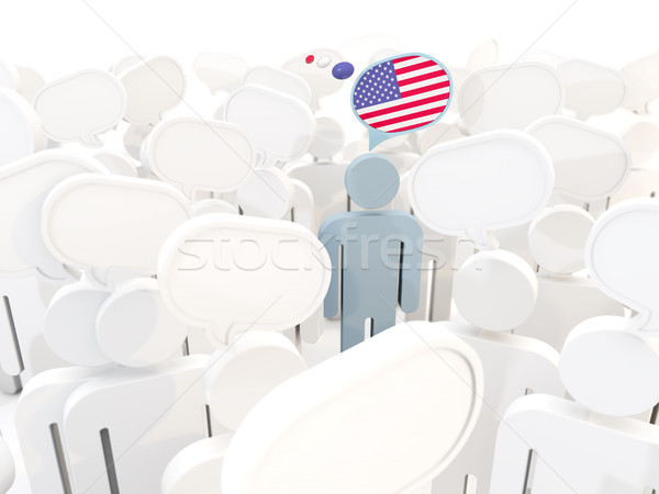 Man with flag of united states of america in a crowd Stock photo © MikhailMishchenko