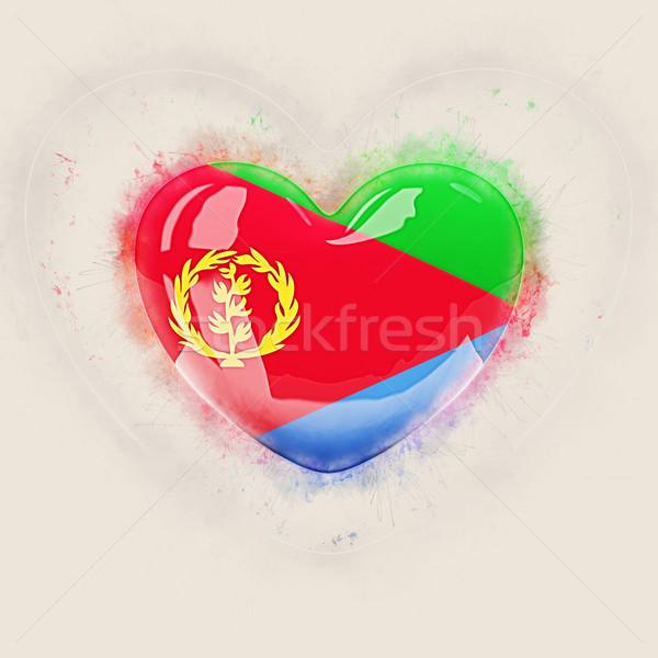 сердце флаг Эритрея Гранж 3d иллюстрации путешествия Сток-фото © MikhailMishchenko