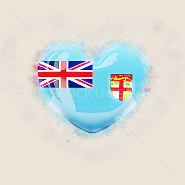 Coração bandeira Fiji grunge ilustração 3d viajar Foto stock © MikhailMishchenko