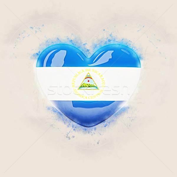 Coração bandeira Nicarágua grunge ilustração 3d viajar Foto stock © MikhailMishchenko