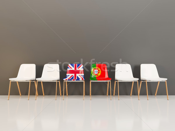 Chairs with flag of United Kingdom and portugal Stock photo © MikhailMishchenko