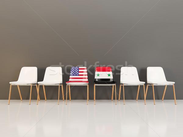 Stoelen vlag USA Syrië rij 3d illustration Stockfoto © MikhailMishchenko