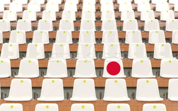 Stadion zitting vlag Japan rij witte Stockfoto © MikhailMishchenko