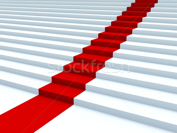White stair with red path Stock photo © MikhailMishchenko