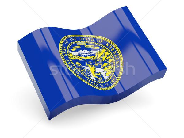Stockfoto: Golvend · icon · Nebraska · vlag · USA