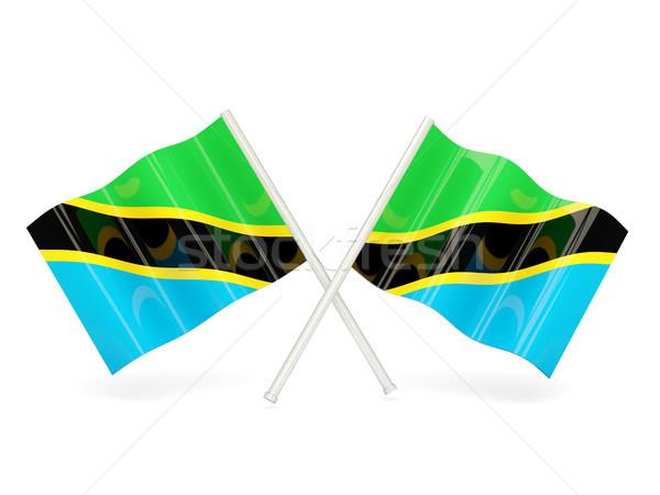 Bandeira Tanzânia dois ondulado bandeiras isolado Foto stock © MikhailMishchenko