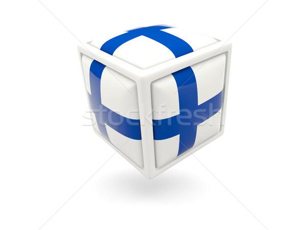 Stok fotoğraf: Bayrak · Finlandiya · küp · ikon · yalıtılmış · beyaz