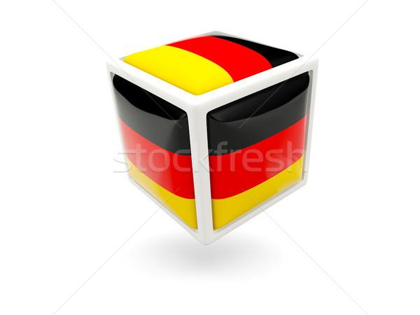 Stok fotoğraf: Bayrak · Almanya · küp · ikon · yalıtılmış · beyaz
