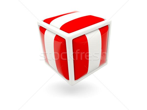 Foto stock: Bandeira · Peru · cubo · ícone · isolado · branco
