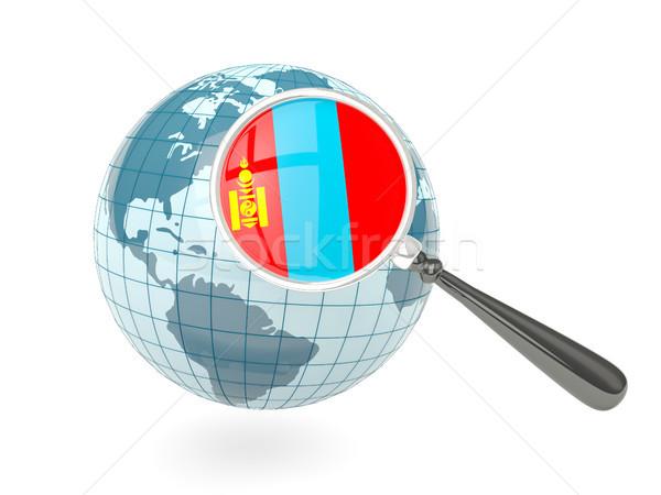 Nagyított zászló Mongólia kék földgömb izolált Stock fotó © MikhailMishchenko