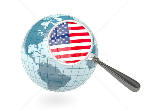 Nagyított zászló Egyesült Államok Amerika kék földgömb Stock fotó © MikhailMishchenko