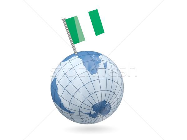 Globo bandeira Nigéria azul isolado branco Foto stock © MikhailMishchenko