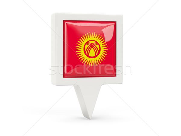 Vierkante vlag icon Kirgizië geïsoleerd witte Stockfoto © MikhailMishchenko