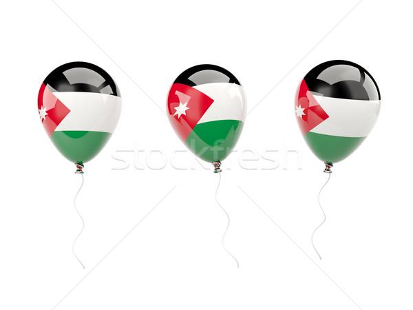Powietrza balony banderą Jordania odizolowany biały Zdjęcia stock © MikhailMishchenko