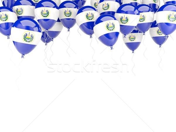 Balão quadro bandeira El Salvador isolado branco Foto stock © MikhailMishchenko