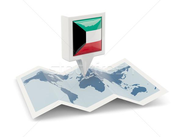 Piazza pin bandiera Kuwait mappa viaggio Foto d'archivio © MikhailMishchenko