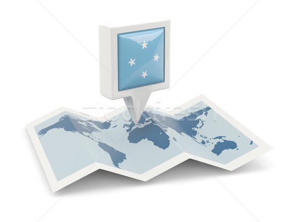 広場 ピン フラグ ミクロネシア 地図 旅行 ストックフォト © MikhailMishchenko
