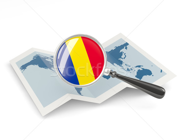 Magnified flag of romania with map Stock photo © MikhailMishchenko