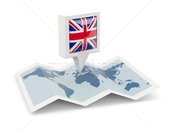 Cuadrados pin bandera Reino Unido mapa viaje Foto stock © MikhailMishchenko