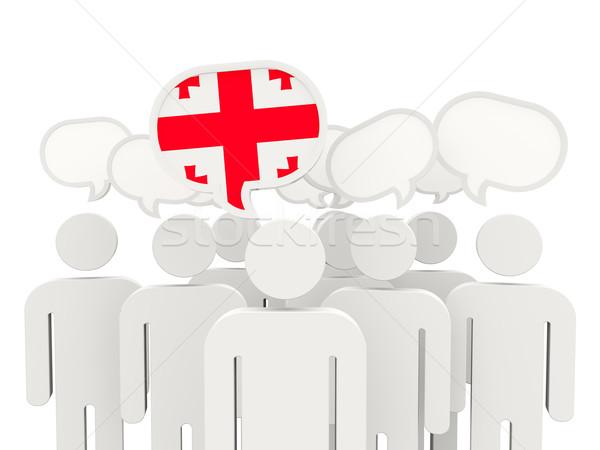 люди флаг Грузия изолированный белый заседание Сток-фото © MikhailMishchenko