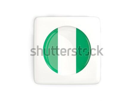 Botão bandeira Nigéria metal quadro viajar Foto stock © MikhailMishchenko